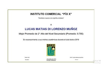 DI LORENZO MUÑOZ, Lucas. MEJOR PROMEDIO