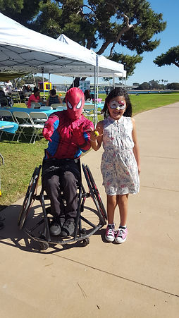Wheelchair spiderman and one of our Spina Bifida kids