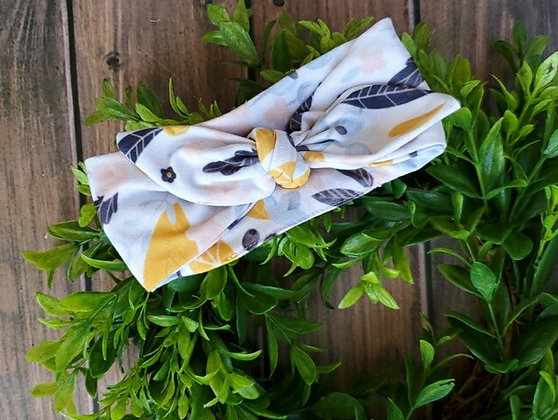 Mustard Floral Cozy Knotted Headband