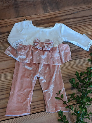 Peach Velvet Two Piece