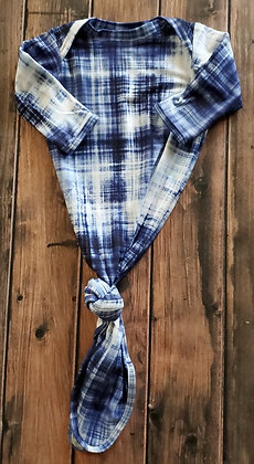 Navy Plaid Cozy Knotted Gown