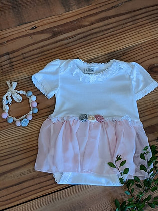 Onesie with Baby Pink Chiffon Skirt