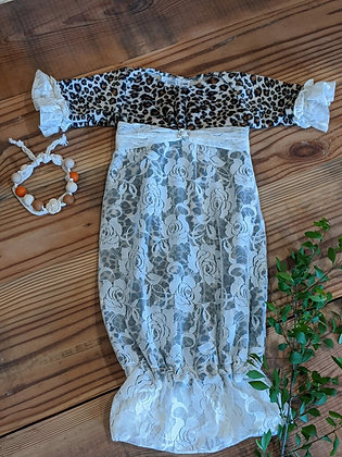 Minky Cheetah Gown with Lace Overlay