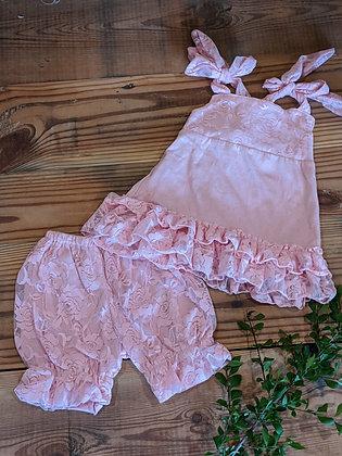 Pink Lace Ruffle Set