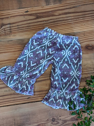Purple Damask Ruffle Pant
