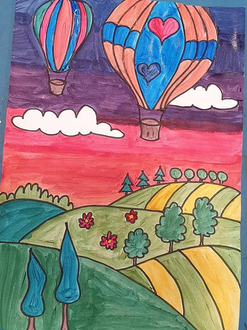 Colour Wheel Hot Air Balloon: 3 in 1 Art Activities