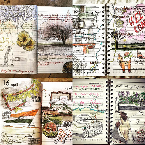 Adventures in Art Journaling Course Sat 1st, 8th, 15th, 29th May 21, 2-4pm UK