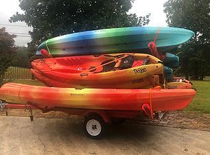 Kayaks on a trailer