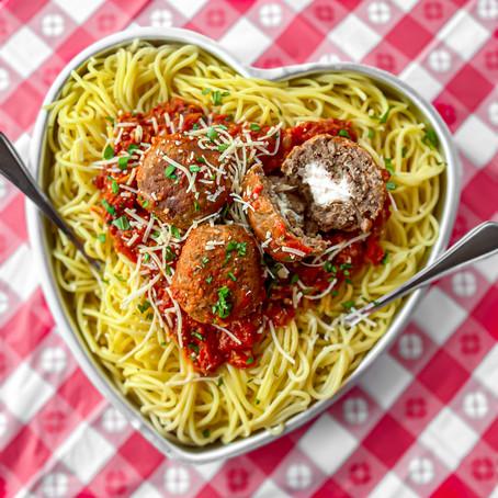 Vegan Spaghetti & Cheese Stuffed Meatballs