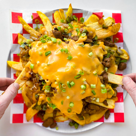 Vegan Philly Cheesesteak Fries