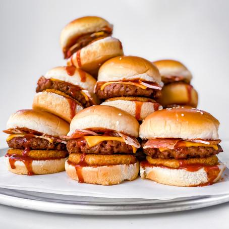 Vegan Western Bacon Cheeseburger Sliders