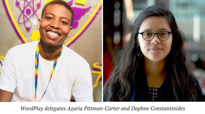 WordPlay delegates Azaria Pittman-Carter and Daphne Constantinides