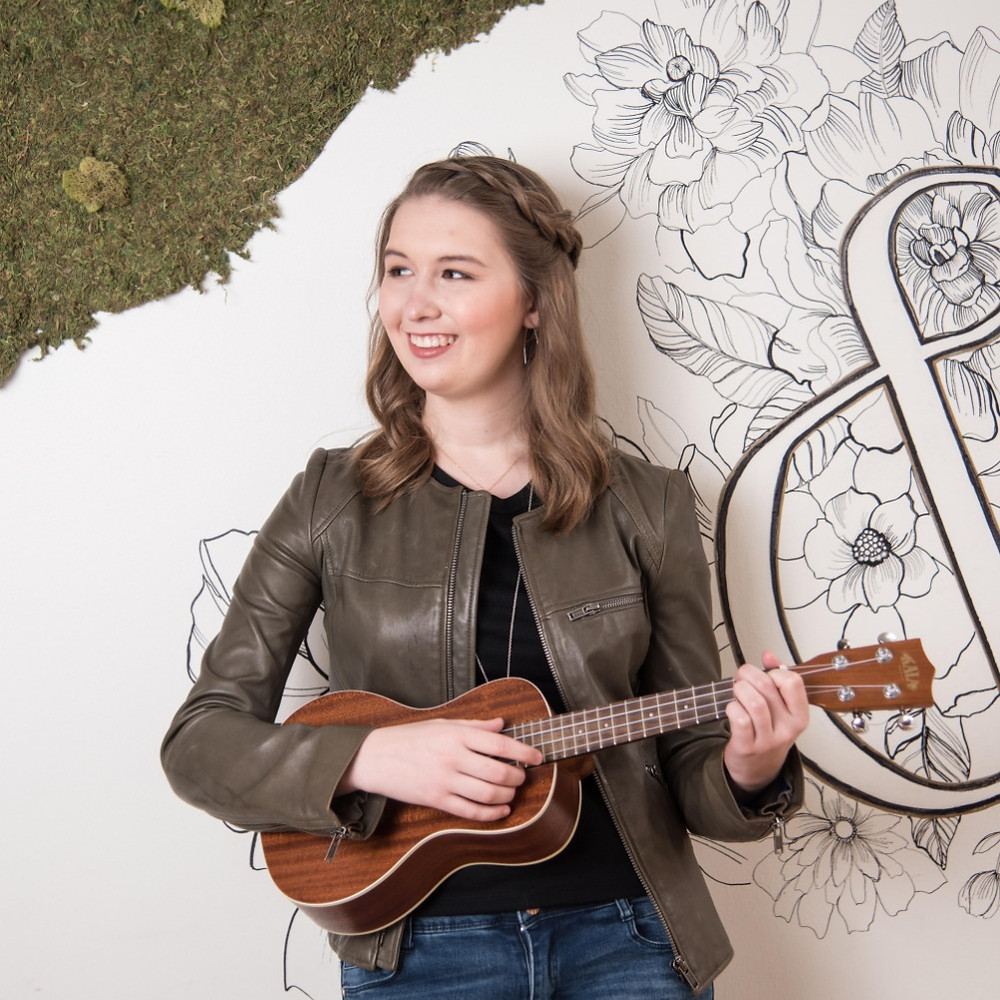 Musical Writer-Director Lilly Gieseke with her signature songwriting ukelele.
