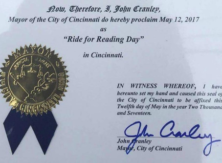 City of Cincinnati Declares May 12th 2017 Official Ride for Reading Day Thanks to Spun Bicycles and