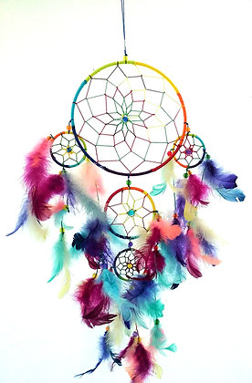 Multi Colored 5 Ring Dream Catcher