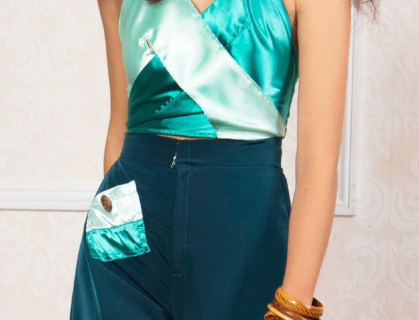 TEAL AND MINT MARYLIN TOP