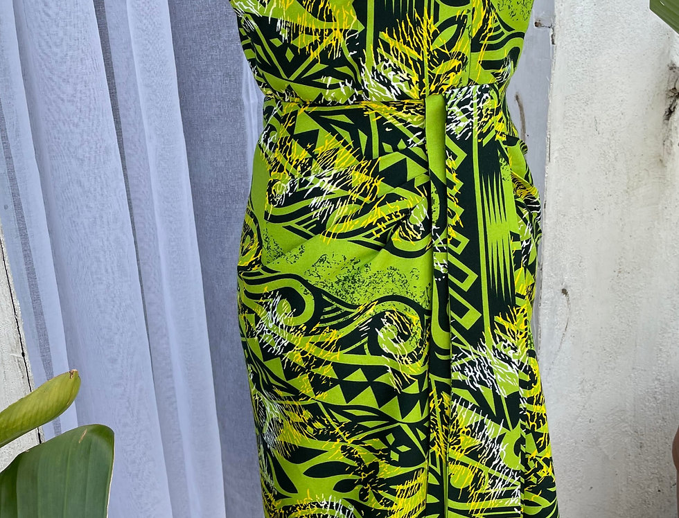 MICHELLE- GREEN HAWAIIAN RAYON DRESS