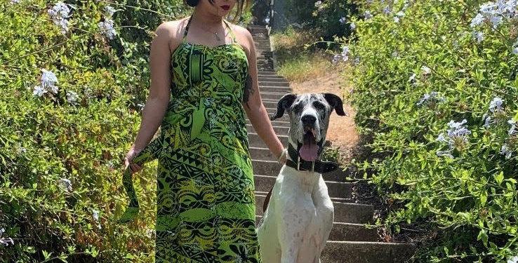 MICHELLE- GREEN HAWAIIAN RAYON DRESS