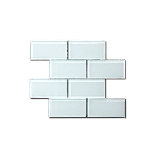 "WHITE GLASS MOSAIC 3"" x 6"""