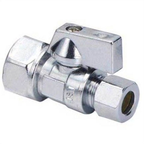 "SUPPLY STOP QUARTER TURN STRAIGHT 1/2"" FIP x 3/8"" OD COMP LEAD FREE"