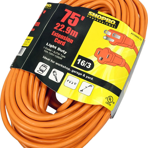 Pwr Ext.Cord O/D 16/3 75' ORNG