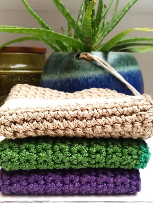 Eco cotton hand crocheted wash cloths