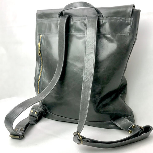 PAL Rucksack in grey glazed leather