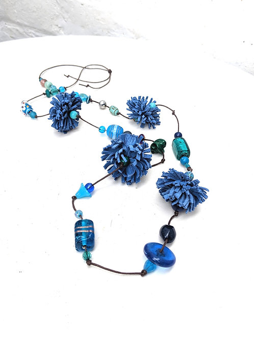 Poms Necklace in blues