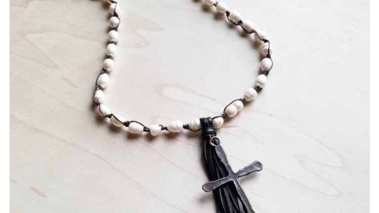 Fresh water pear necklace with leather tassel copper cross