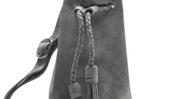 Leather gray bucket bag