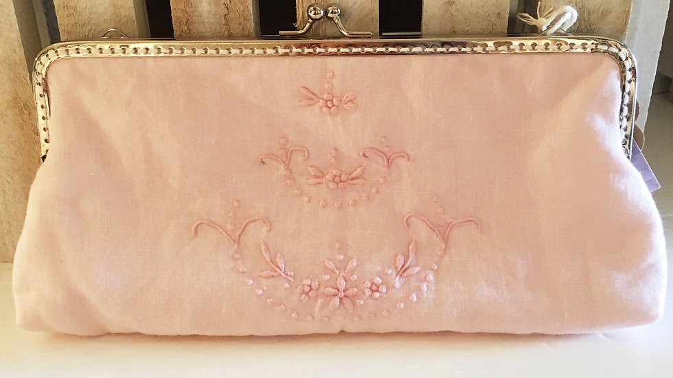 Blush pink clutch