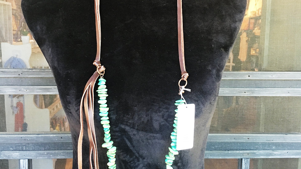 Terquiose Necklace With Leather Tassel
