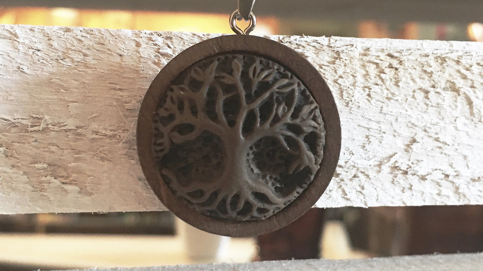 Clay and wood pendant