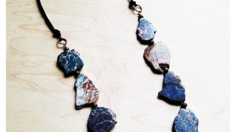 Blue Regalite Slab Necklace