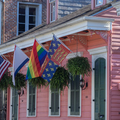 Pink House and Flags