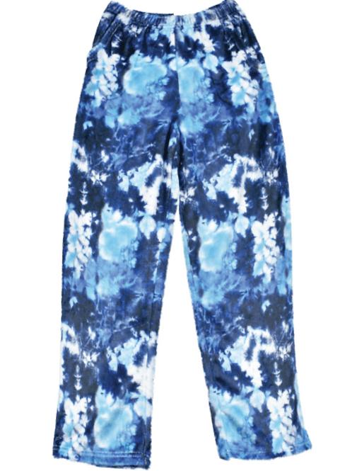 Fuzzy Blue Tie Dye Pants