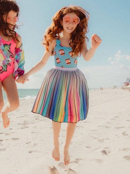Lola and The Boys Rainbow Pleated Skirt