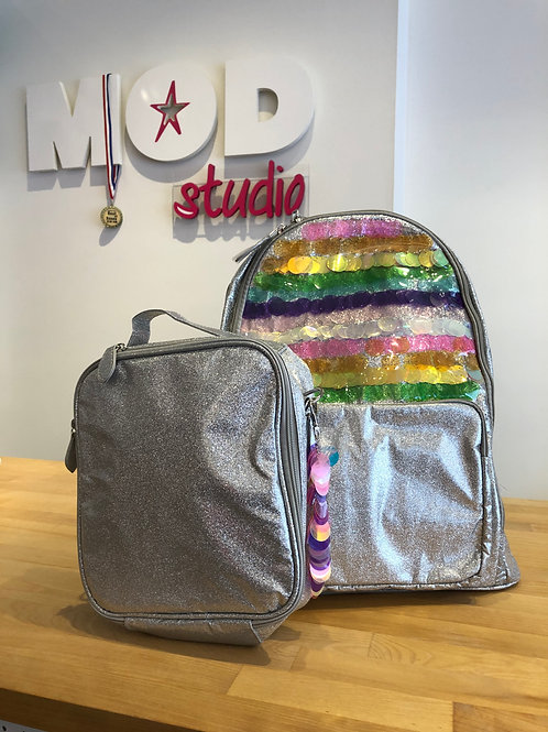 Bari Lynn Silver Sparkle & Sequins Backpack