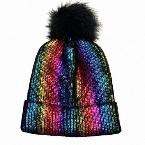 Rainbow Metallic PomPom Hat