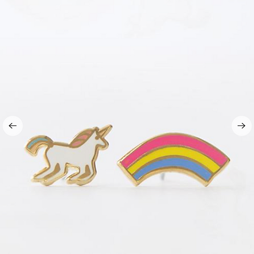Yellow Owl Workshop - Gold Unicorn & Rainbow Earrings