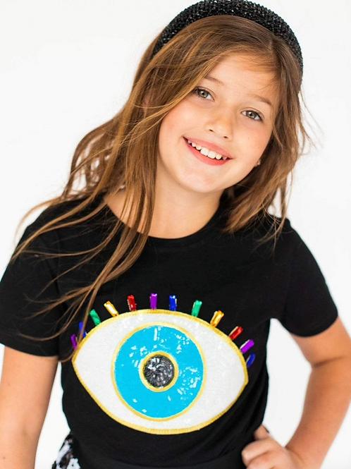Lola and The Boys Jeweled Evil Eye T-Shirt