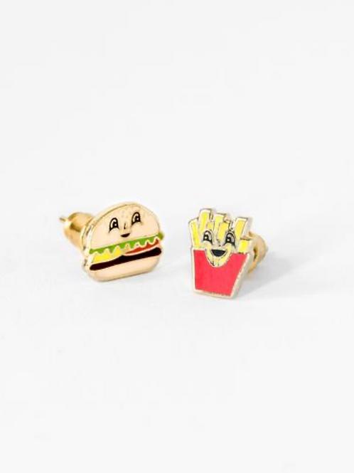 Yellow Owl Workshop - Gold Hamburger & Fries Earrings