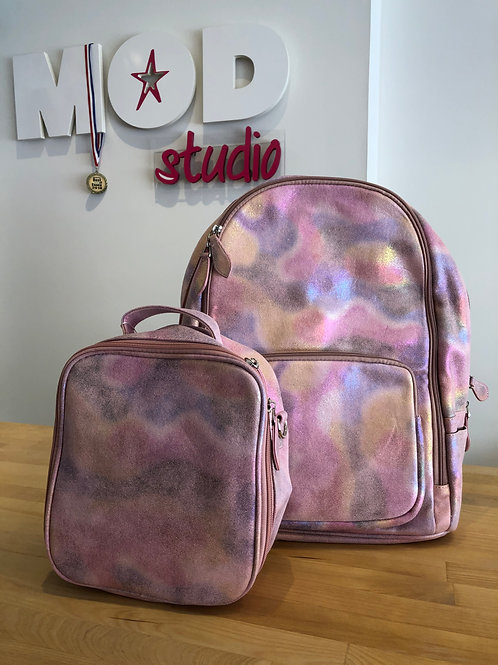 Bari Lynn Iridescent Pink and Rainbow Backpack