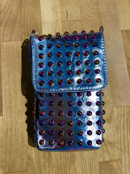 Bari Lynn Studded Silver Phone Bag