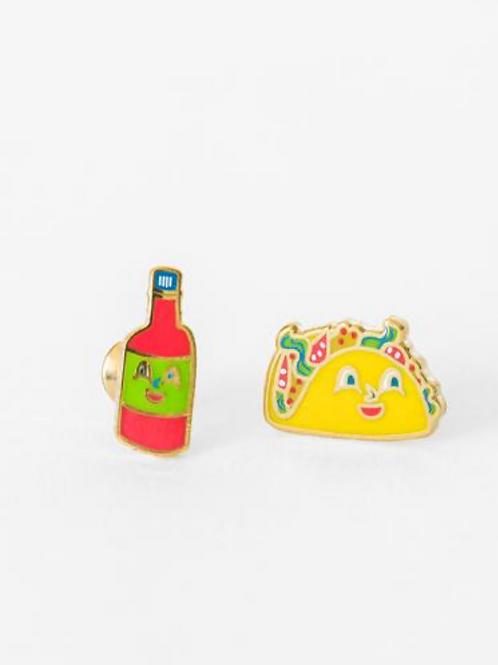Yellow Owl Workshop - Gold Taco & Hot Sauce Earrings