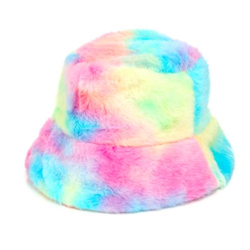 Tie Dye Faux Fur Bucket Hat