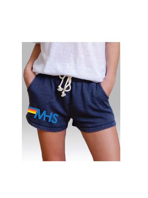 MHS Stripe Logo Tie Front Fleece Short