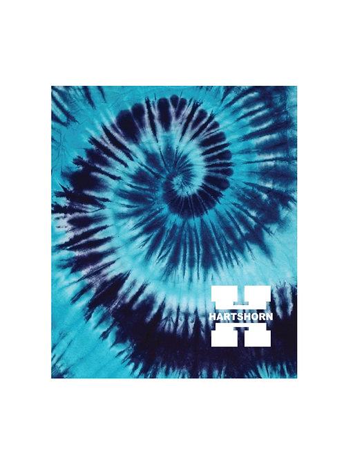 Hartshorn H Blue Tie-Dye Print Throw Blanket