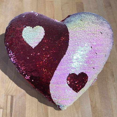 Magic Sequin Yin Yang Heart Pillow