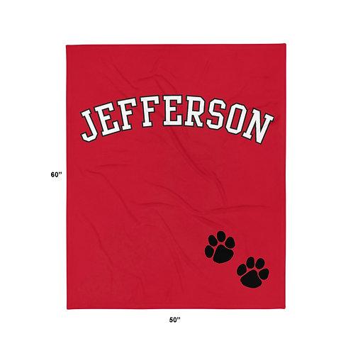 Jefferson Varsity Paw Print Throw Blanket